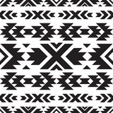 Seamless tribal black and white pattern - 206327019