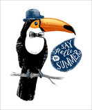 Card with hand drawn toucan hipster - 206327270