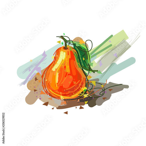 Abstract illustration of pear. Sketchy Pear - 206329852