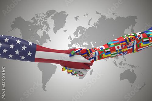 American Worldwide Handshake Bilateral talks 3D render