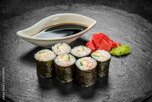 Fotobehang Sushi bar Japanese cuisine with fresh seafood