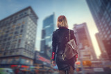 business woman walking through the manhattan - 206339048