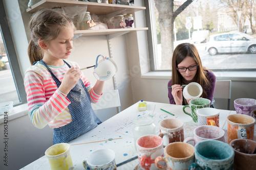 Fototapeta Children and their hobby pottery painting