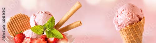 Leinwanddruck Bild Collage with ice cream specialties