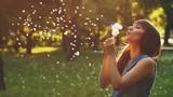 Womna Blow Dandelion at Sunset - 206347852