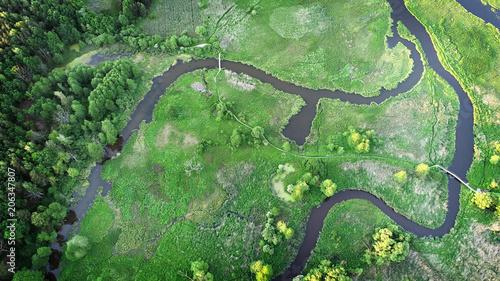 Fotobehang Olijf Aerial view of natural river in spring