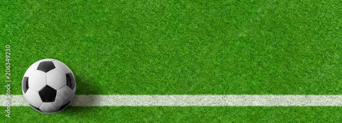 canvas print picture  Fußball auf Rasen - Panoramaformat