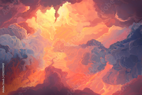 Plexiglas Koraal Illustration of fiery sky, sunset. Digital painting.