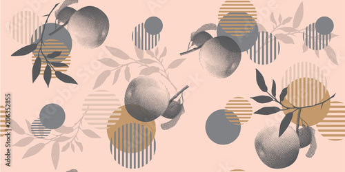 Modern floral pattern in a halftone style. Geometric shapes, apples and branches on a pink background - 206352855