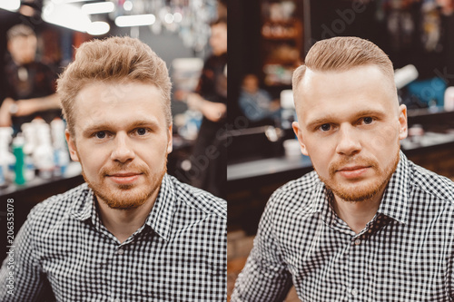 Before and after Man in barber chair, hairdresser styling in barbershop