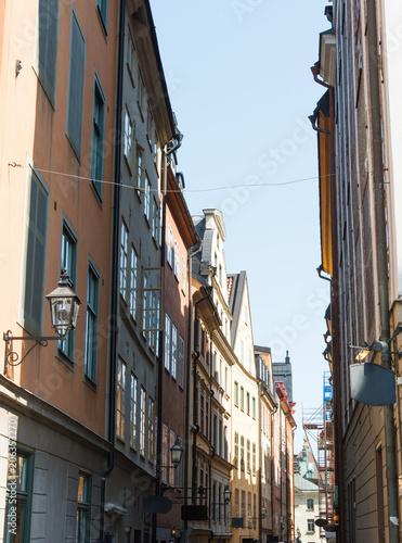Fotobehang Stockholm a narrow Swedish street in Stockholm