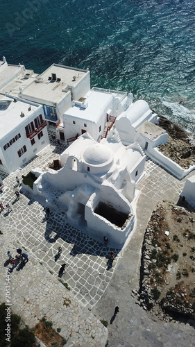 Aluminium Santorini Aerial drone bird's eye view photo of iconic church of Paraportiani in Little Venice, Chora of Mykonos island, Cyclades, Greece