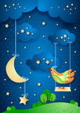 Surreal night with moon, swing and bird