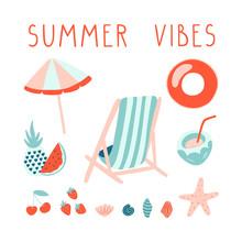 Minimal Summer Illustration Set  Lettering Beach   Template Sticker