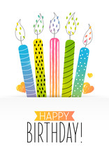Birthday Greeting Card  Color Cake Candles Sticker