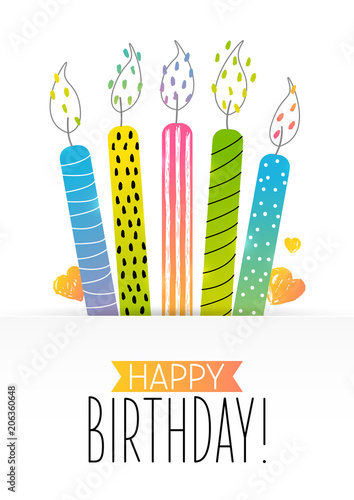Birthday greeting card with color cake candles