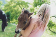 Baby horse in hand. Foal.