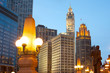 Downtown skyline of Chicago at dusk, Illinois, USA