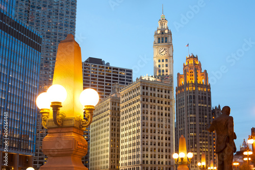 Aluminium Chicago Downtown skyline of Chicago at dusk, Illinois, USA