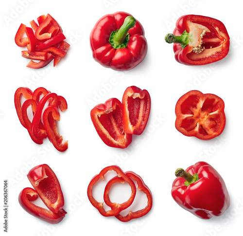 Set of fresh whole and sliced sweet pepper - 206367064