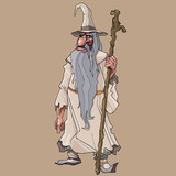 Cartoon bearded fairy old man with a staff