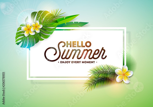 Vector Hello Summer Holiday typography illustration with tropical plants and flower on clean background. Design template for banner, flyer, invitation, brochure, poster or greeting card.