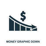 Money Graphic Down icon. Flat style icon design. UI. Illustration of money graphic down icon. Pictogram isolated on white. Ready to use in web design, apps, software, print. - 206378863