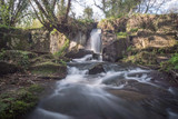 long exposure of a waterfall in the natural park of