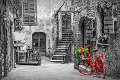 Zdjęcia na płótnie, fototapety na wymiar, obrazy na ścianę : Beautiful alley in Tuscany, Old town, Italy