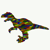 Dinosaur with open mouth, colorful pattern