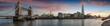 Leinwanddruck Bild - Weites Panorama von der Tower Bridge bis zum Tower of London bei Sonnenuntergang, Großbritannien