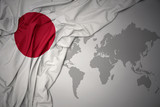 waving colorful national flag of japan.