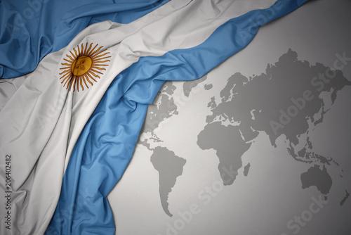 Aluminium Buenos Aires waving colorful national flag of argentina.
