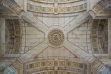 Triumphal arch in Lisbon, Portugal, close up image of details of the arch ceiling - 206405810