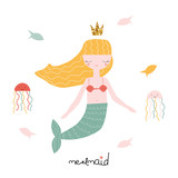 Cute mermaid with fishes and octopuses. Vector hand drawn illustration. - 206408202