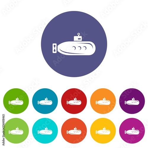 Long submarine icons color set vector for any web design on white background