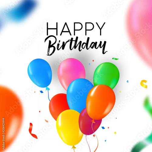 Happy Birthday party balloon and confetti card