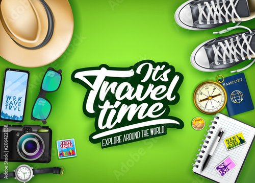 It's Travel Time Typography with Realistic Hat, Passport, Camera, Phone, Watch, Compass and Pair of Shoes in Green Background Top View Banner. Vector Illustration