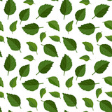 Beautiful seamless floral pattern background. Green leaves backdrop. Hibiscus leaves realistic vector repeatable design. - 206422804