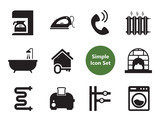 Home vector icons set with apartment plan, washing machine and bath tube. Thirteen simple icons - 206432670
