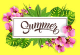 Summer lettering in frame with tropical leaves and orchids. Summer offer or sale advertising design. Handwritten and typed text, calligraphy. For leaflet, brochure, invitation, poster or banner.