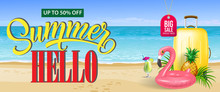 Up To Fifty Percent Off Big Sale Summer Banner Design Fresh Cocktail Pineapple Toy Flamingo Yellow Travel Case And Sand Beach Text Can Be Used For Coupons Voucher Posters Sticker