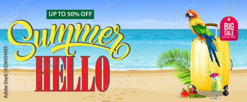 Up to fifty percent off, big sale summer banner design. Fresh cocktail, red flower, yellow travel case, parrot and sand beach. Text can be used for coupons, voucher, posters.