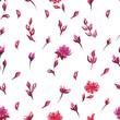 Seamless pattern Light watercolor flowers red pink purple - 206434689