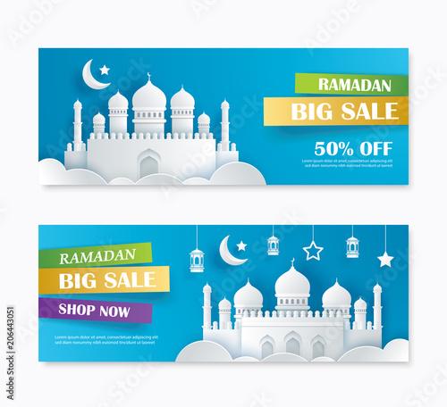 ramadan kareem big sale banner design with crescent moon paper art
