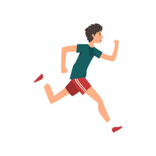 Young Sportive Man Running Active Healthy Lifestyle Concept Cartoon  Illustration   Sticker