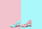 Fashion female pink shoes with heels. Women's footwear casual design isolated on blue background with free space for text. - 206452263