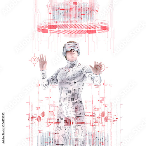 Virtual reality male user white / 3D illustration of male figure in virtual gear working in bright white virtual environment