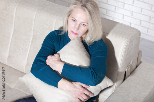 Sad Mature Woman Suffering From Agoraphobia