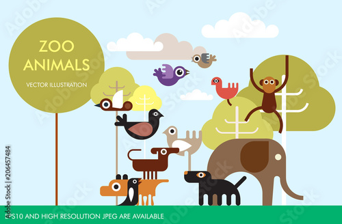 Fotobehang Abstractie Art Zoo Animals vector template design